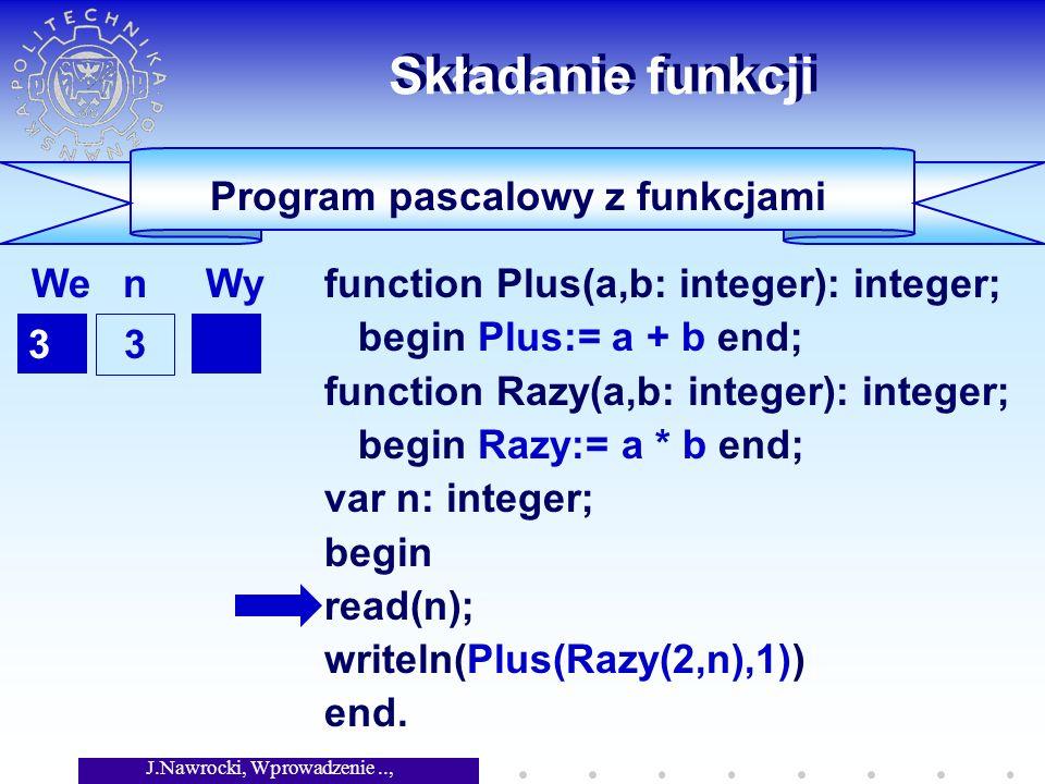 J.Nawrocki, Wprowadzenie.., Wykład 4 Usuwanie rekursji Wady rekursji function f(j: integer): integer; begin if j<=1 then f:= 1 else f:= f(j-1) + f(j-2) end; f(0) = 1, f(1) = 1 f(i+2) = f(i+1) + f(i) f(0) = 1, f(1) = 1 f(i+2) = f(i+1) + f(i)