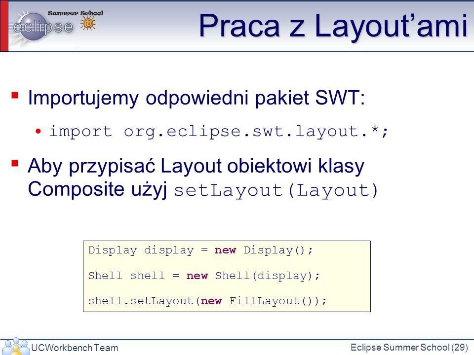 UCWorkbench Team Eclipse Summer School (29) Praca z Layoutami Importujemy odpowiedni pakiet SWT: import org.eclipse.swt.layout.*; Aby przypisać Layout