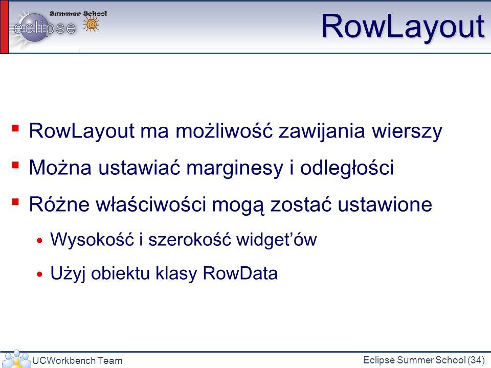 UCWorkbench Team Eclipse Summer School (34) RowLayout RowLayout ma możliwość zawijania wierszy Można ustawiać marginesy i odległości Różne właściwości