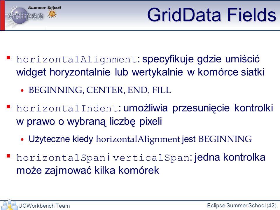 UCWorkbench Team Eclipse Summer School (42) GridData Fields horizontalAlignment : specyfikuje gdzie umiścić widget horyzontalnie lub wertykalnie w kom