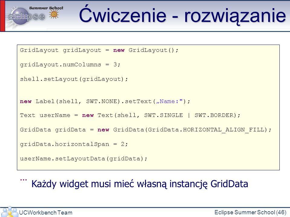 UCWorkbench Team Eclipse Summer School (46) Ćwiczenie - rozwiązanie GridLayout gridLayout = new GridLayout(); gridLayout.numColumns = 3; shell.setLayo