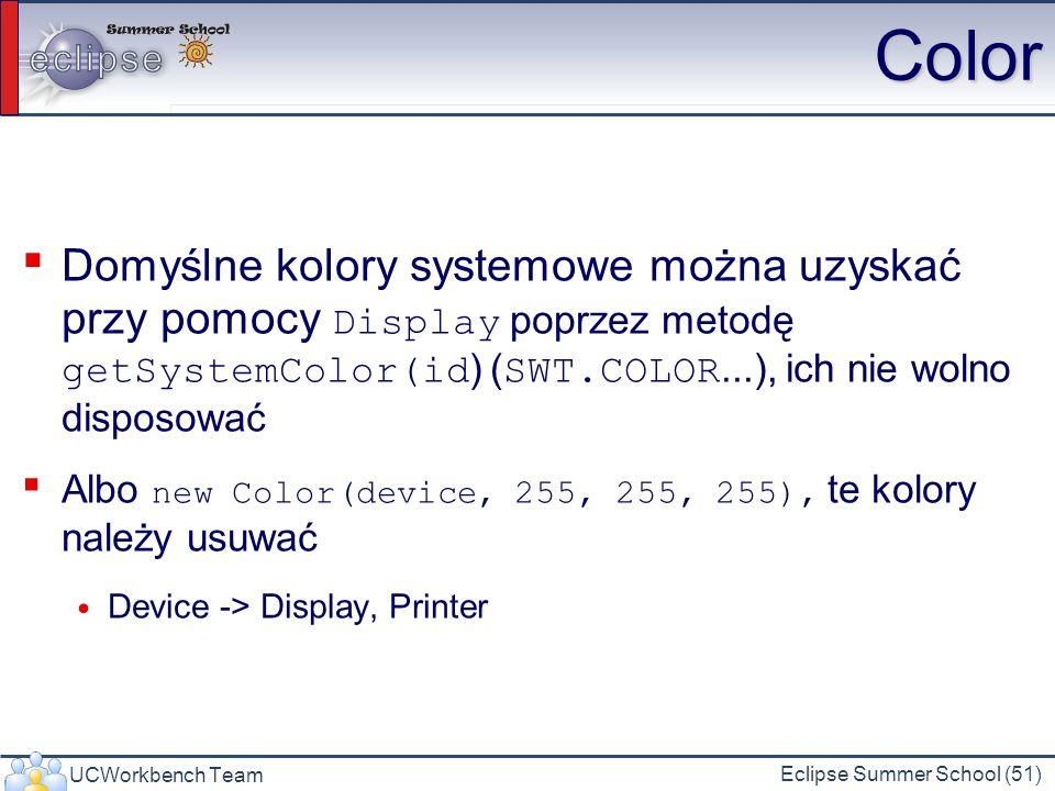 UCWorkbench Team Eclipse Summer School (51) Color Domyślne kolory systemowe można uzyskać przy pomocy Display poprzez metodę getSystemColor(id ) ( SWT