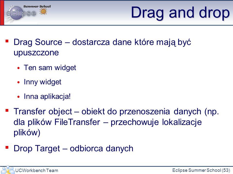 UCWorkbench Team Eclipse Summer School (53) Drag and drop Drag Source – dostarcza dane które mają być upuszczone Ten sam widget Inny widget Inna aplik