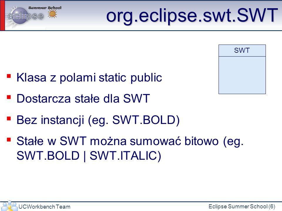 UCWorkbench Team Eclipse Summer School (27) Menu Menu menuBar = new Menu(shell, SWT.BAR); shell.setMenuBar(menuBar); MenuItem fileTitle = new MenuItem(menuBar, SWT.CASCADE); fileTitle.setText( File ); Menu fileMenu = new Menu(shell, SWT.DROP_DOWN); fileTitle.setMenu(fileMenu); MenuItem exitItem = new MenuItem(fileMenu, SWT.PUSH); exitItem.setText( Exit ); exitItem.addSelectionListener(new SelectionListener(){ public void widgetDefaultSelected(SelectionEvent e) { widgetSelected(e); } public void widgetSelected(SelectionEvent e) { ((MenuItem)(e.widget)).getParent().getShell().close(); } }); SWT.BAR SWT.DROP_DOWN SWT.POP_UP SWT.CHECK SWT.CASCADE SWT.PUSH SWT.RADIO SWT.SEPARATOR setManuBar – SWT.BAR setMenu – SWT.POP_UP