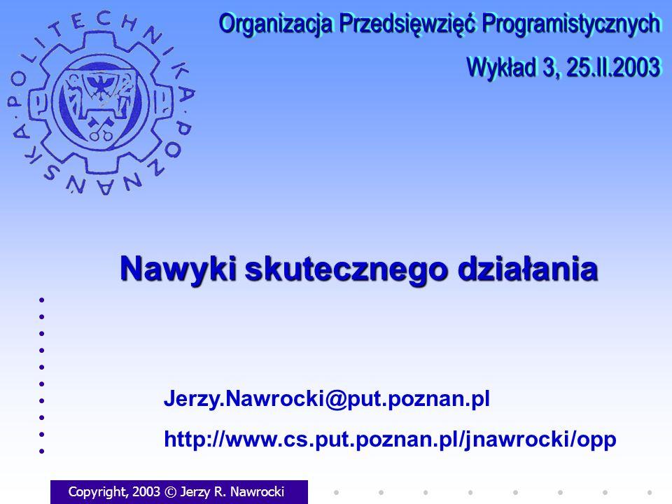 Nawyki skutecznego działania Copyright, 2003 © Jerzy R. Nawrocki Jerzy.Nawrocki@put.poznan.pl http://www.cs.put.poznan.pl/jnawrocki/opp Organizacja Pr