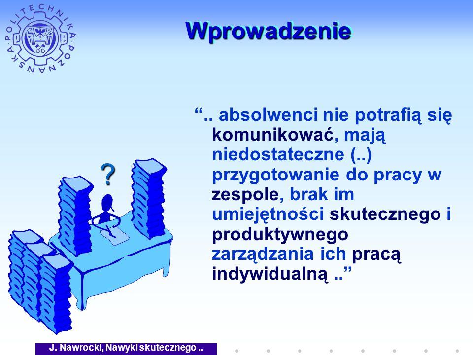 J. Nawrocki, Nawyki skutecznego.. WprowadzenieWprowadzenie.. absolwenci nie potrafią się komunikować, mają niedostateczne (..) przygotowanie do pracy