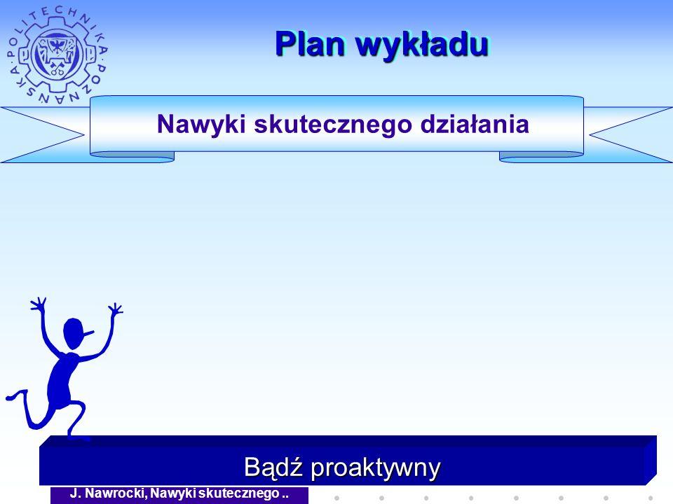 J. Nawrocki, Nawyki skutecznego.. Plan wykładu Bądź proaktywny Nawyki skutecznego działania