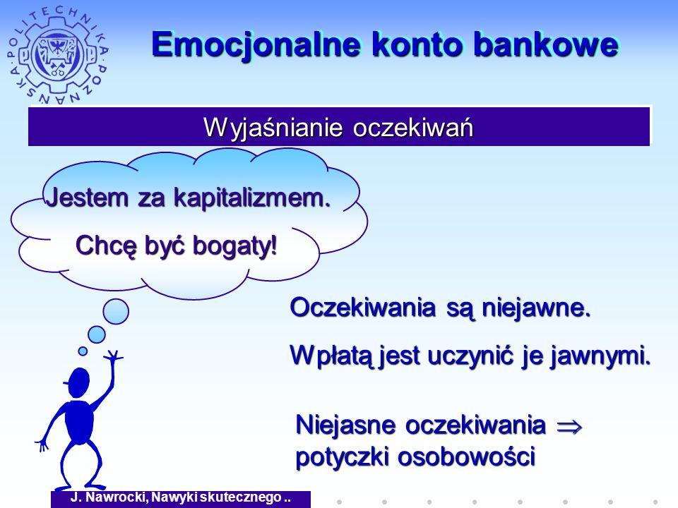J. Nawrocki, Nawyki skutecznego.. Emocjonalne konto bankowe Wyjaśnianie oczekiwań Jestem za kapitalizmem. Jestem za kapitalizmem. Chcę być bogaty! Ocz