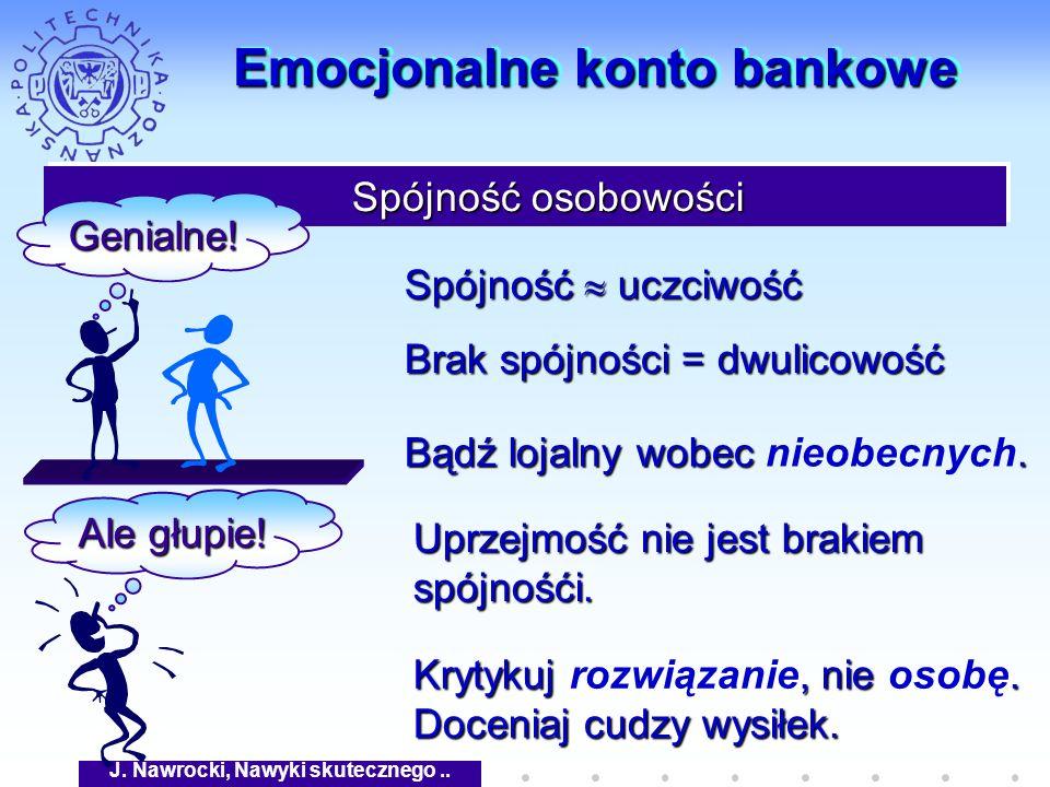 J. Nawrocki, Nawyki skutecznego.. Emocjonalne konto bankowe Spójność osobowości Spójność osobowości Genialne! Ale głupie! Spójność uczciwość Brak spój