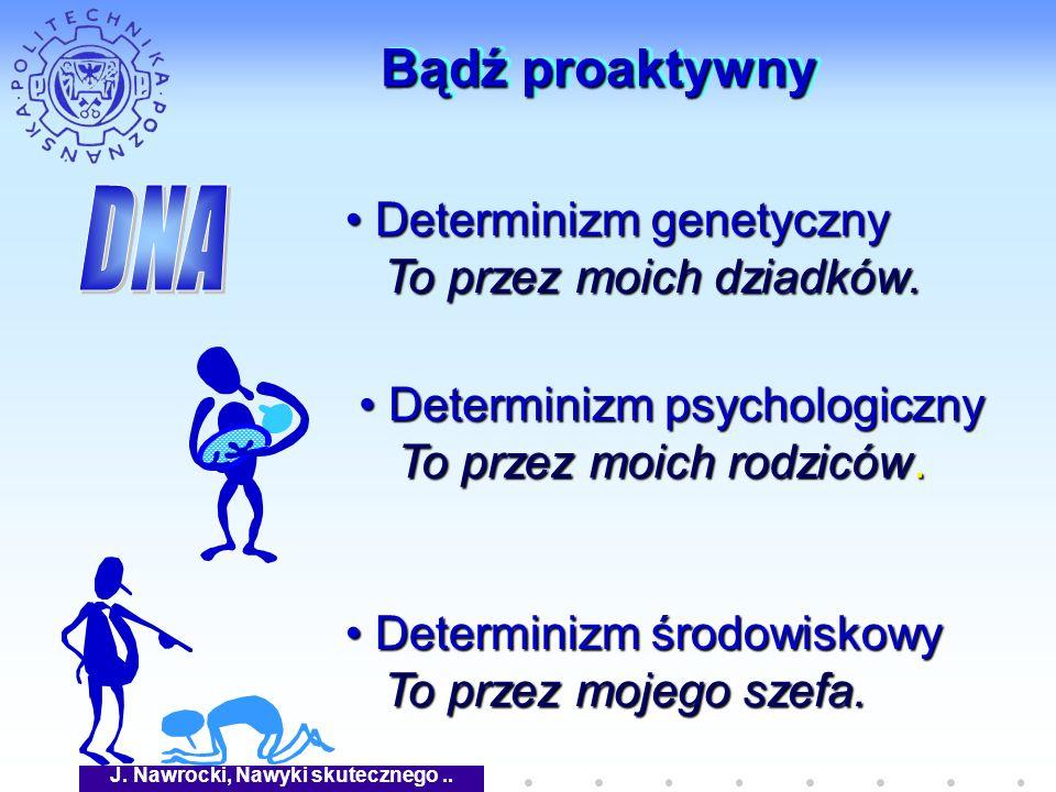 J. Nawrocki, Nawyki skutecznego.. Bądź proaktywny Determinizm psychologiczny Determinizm psychologiczny To przez moich rodziców. To przez moich rodzic