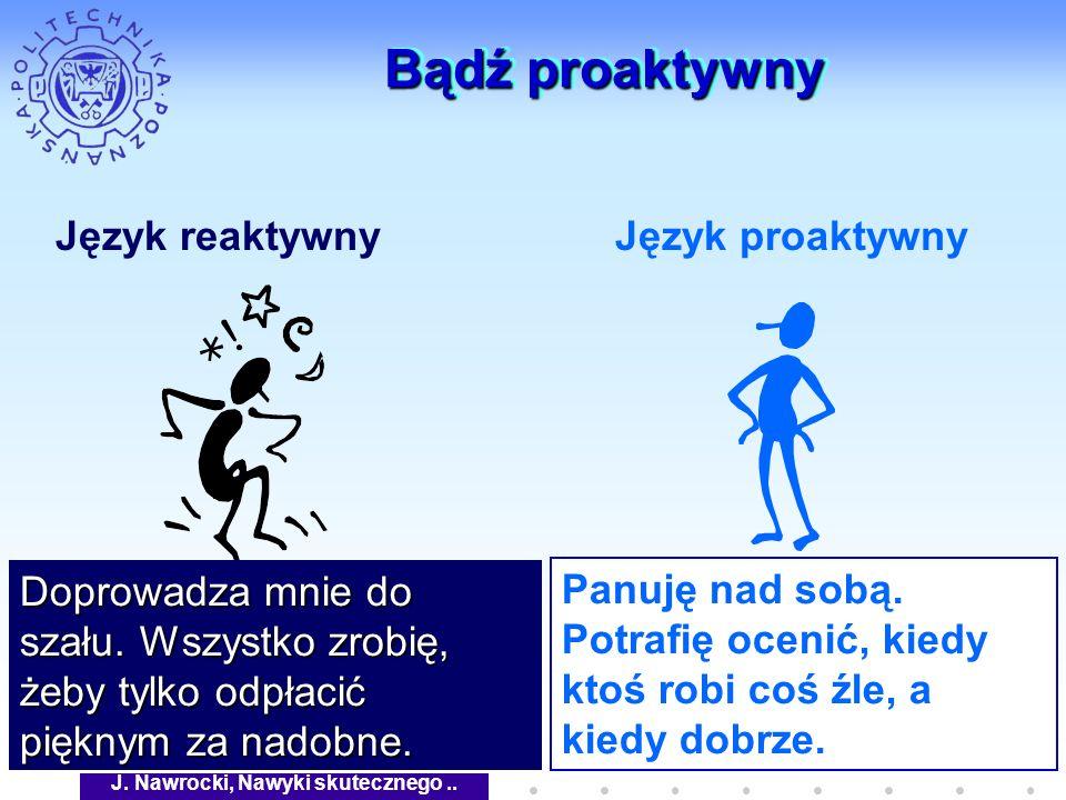 J. Nawrocki, Nawyki skutecznego.. Bądź proaktywny Język reaktywnyJęzyk proaktywny Doprowadza mnie do szału. Wszystko zrobię, żeby tylko odpłacić piękn
