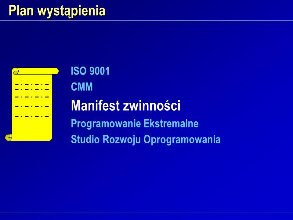 Plan wystąpienia ISO 9001 CMM Manifest zwinności Programowanie Ekstremalne Studio Rozwoju Oprogramowania ISO 9001 CMM Manifest zwinności Programowanie