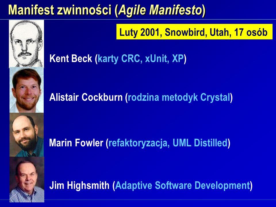 Manifest zwinności ( Agile Manifesto ) Luty 2001, Snowbird, Utah, 17 osób Kent Beck (karty CRC, xUnit, XP) Alistair Cockburn (rodzina metodyk Crystal)
