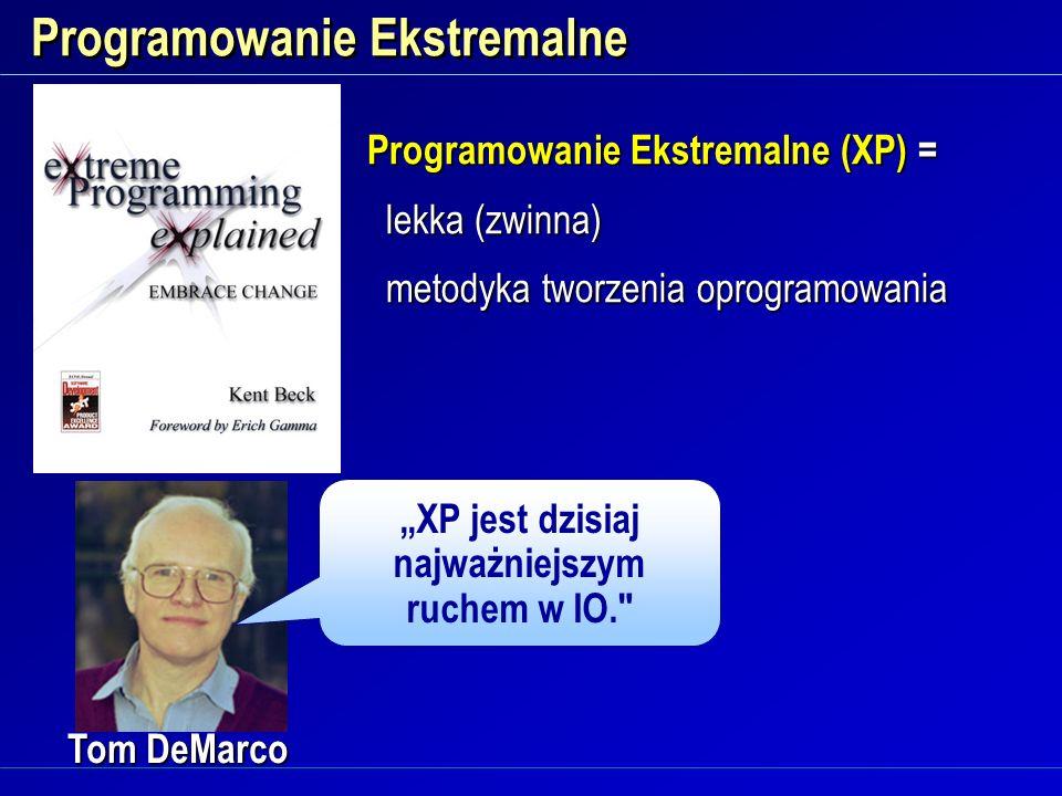 Programowanie Ekstremalne Tom DeMarco XP jest dzisiaj najważniejszym ruchem w IO.