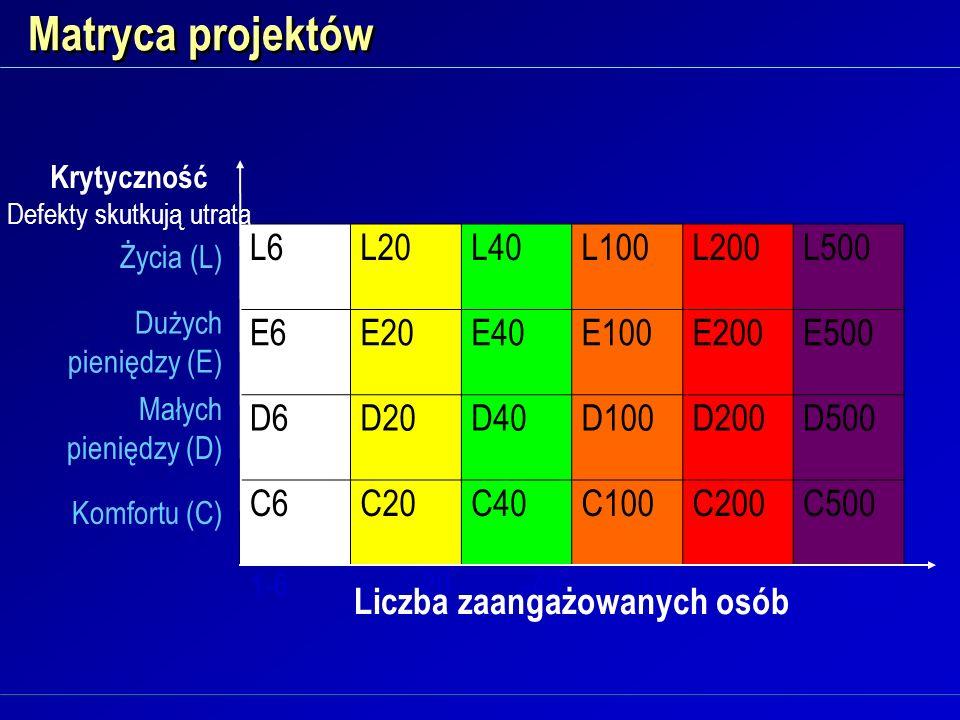 Matryca projektów L6L20L40L100L200L500 E6E20E40E100E200E500 D6D20D40D100D200D500 C6C20C40C100C200C500 1-6-20-40-100-200-500 Życia (L) Dużych pieniędzy