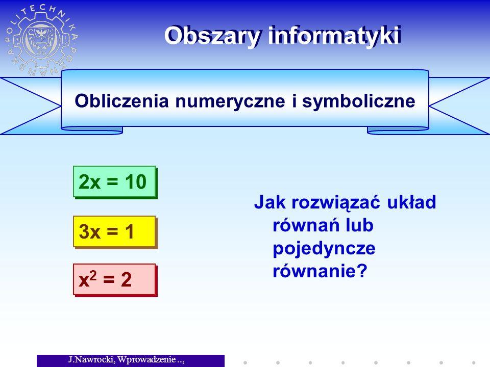 J.Nawrocki, Wprowadzenie.., Wykład 1 Obszary informatyki Jak rozwiązać układ równań lub pojedyncze równanie.