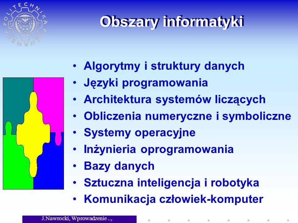 J.Nawrocki, Wprowadzenie.., Wykład 1 Obszary informatyki Algorytmy i struktury danych Języki programowania Architektura systemów liczących Obliczenia numeryczne i symboliczne Systemy operacyjne Inżynieria oprogramowania Bazy danych Sztuczna inteligencja i robotyka Komunikacja człowiek-komputer