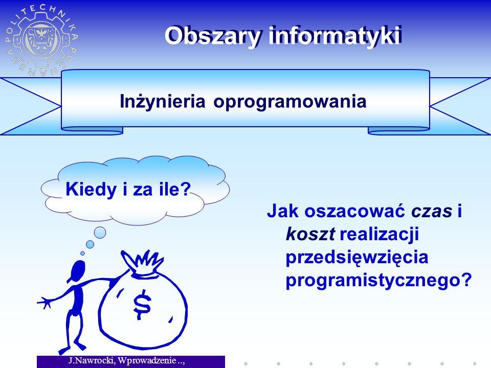 J.Nawrocki, Wprowadzenie.., Wykład 1 Obszary informatyki Jak oszacować czas i koszt realizacji przedsięwzięcia programistycznego.