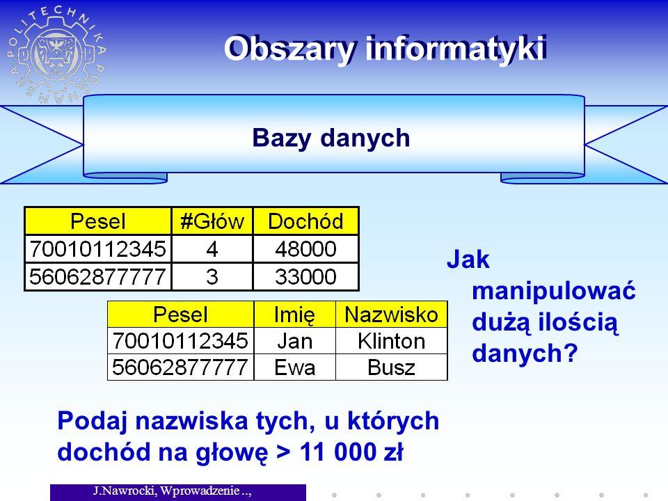 J.Nawrocki, Wprowadzenie.., Wykład 1 Obszary informatyki Jak manipulować dużą ilością danych.