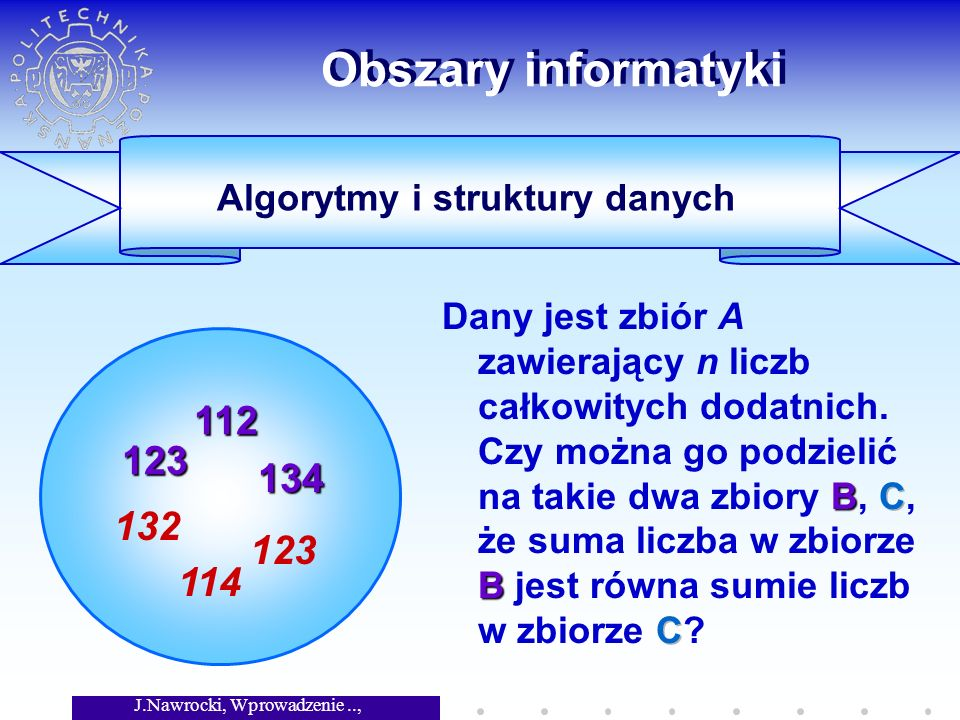 J.Nawrocki, Wprowadzenie.., Wykład 1 Historia informatyki (c.d.) 1936: Konrad Zuse, pierwszy komputer programowalny (Z1) 1946: Włączenie komputera ENIAC (USA) 1947: Powstanie towarzystwa ACM 1948: W Warszawie powstaje Grupa Aparatów Matematycznych ~1955: Tranzystory zamiast lamp 1961: PDP-1 firmy DEC (4K słów, $120 000) ~1963: Pierwsze komputery w Poznaniu