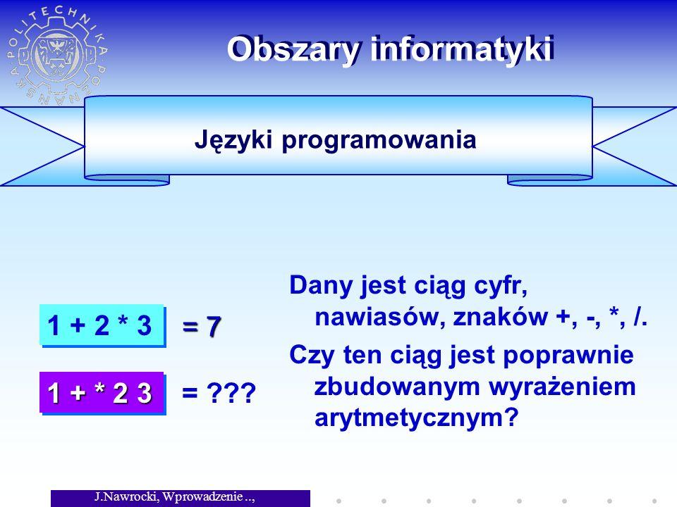 J.Nawrocki, Wprowadzenie.., Wykład 1 Obszary informatyki Jest mała i szybka pamięć operacyjna i duża lecz wolna pamięć dyskowa.