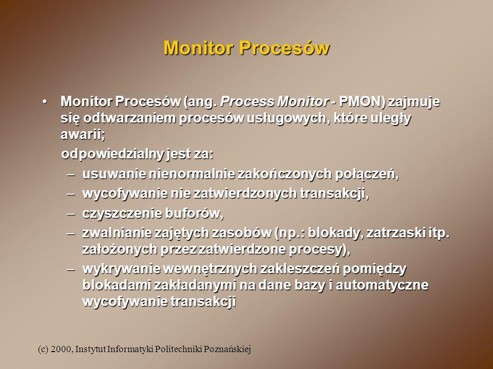 (c) 2000, Instytut Informatyki Politechniki Poznańskiej Monitor Procesów Monitor Procesów (ang. Process Monitor - PMON) zajmuje się odtwarzaniem proce