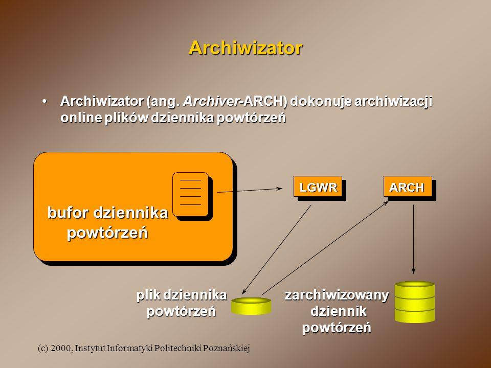 (c) 2000, Instytut Informatyki Politechniki Poznańskiej Archiwizator Archiwizator (ang. Archiver-ARCH) dokonuje archiwizacji online plików dziennika p
