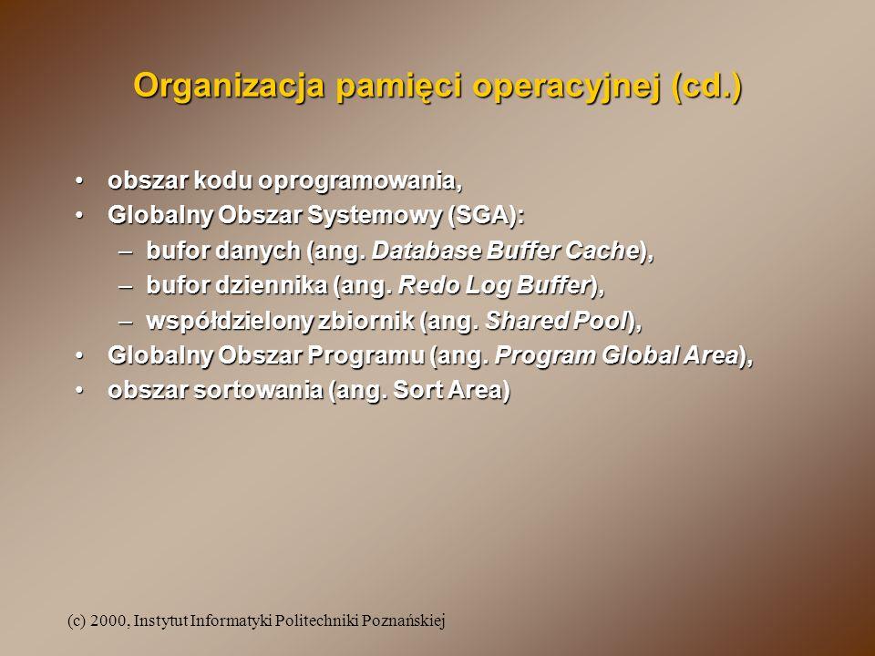 (c) 2000, Instytut Informatyki Politechniki Poznańskiej Organizacja pamięci operacyjnej (cd.) obszar kodu oprogramowania,obszar kodu oprogramowania, G