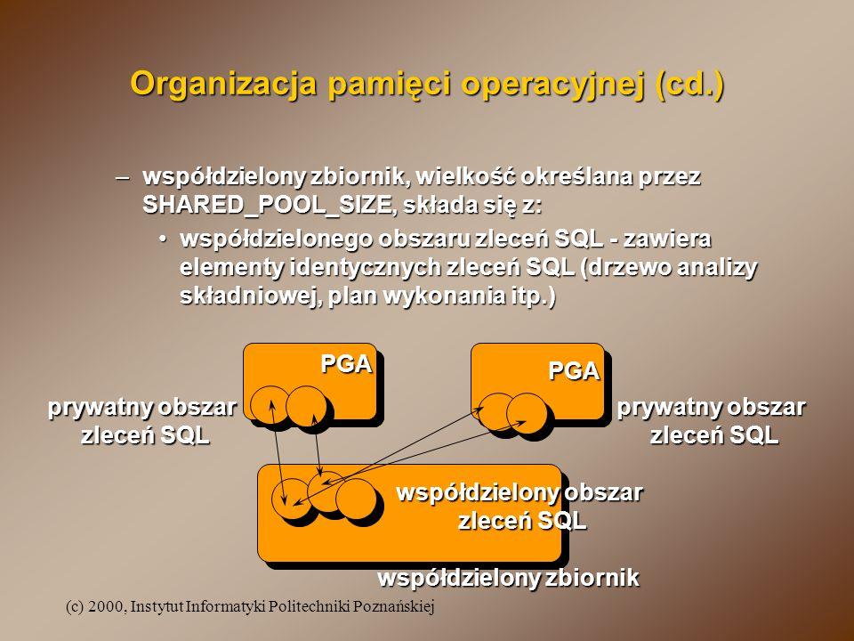 (c) 2000, Instytut Informatyki Politechniki Poznańskiej Organizacja pamięci operacyjnej (cd.) –współdzielony zbiornik, wielkość określana przez SHARED