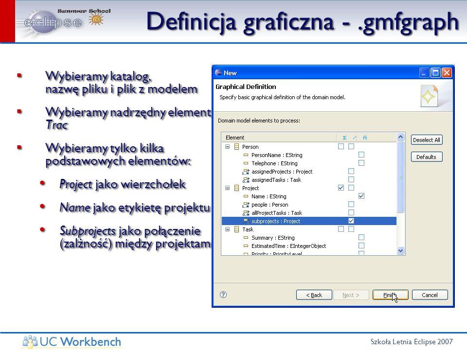 Szkoła Letnia Eclipse 2007 Definicja graficzna -.gmfgraph Wybieramy katalog, nazwę pliku i plik z modelem Wybieramy nadrzędny element Trac Wybieramy t