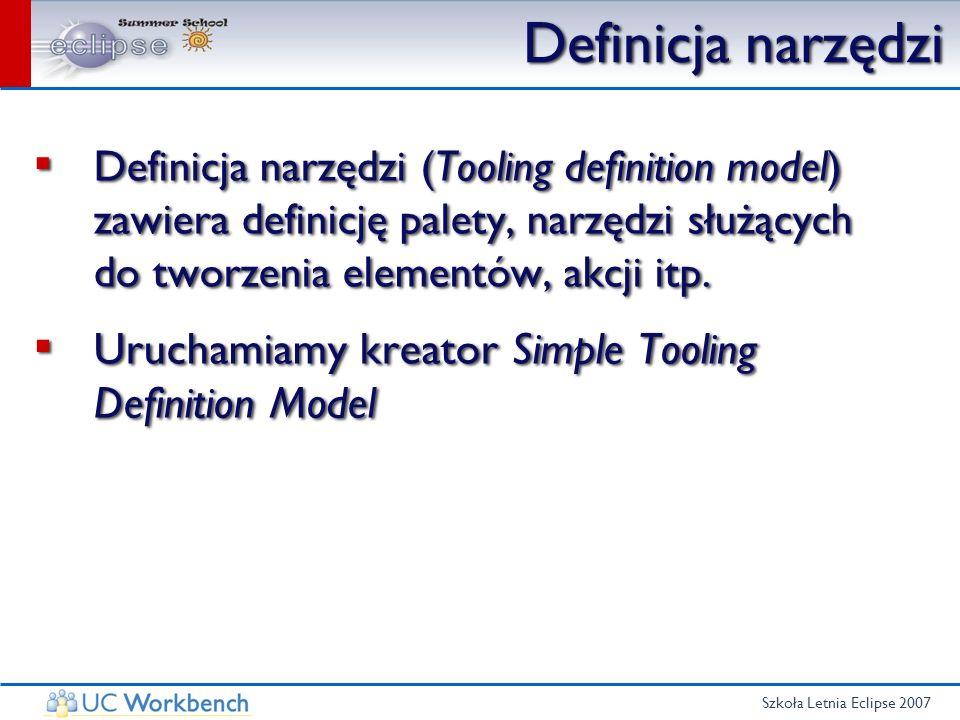Szkoła Letnia Eclipse 2007 Definicja narzędzi Definicja narzędzi (Tooling definition model) zawiera definicję palety, narzędzi służących do tworzenia
