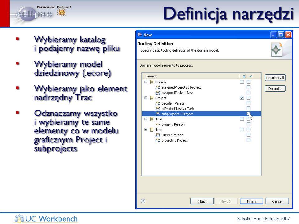 Szkoła Letnia Eclipse 2007 Definicja narzędzi Wybieramy katalog i podajemy nazwę pliku Wybieramy model dziedzinowy (.ecore) Wybieramy jako element nad