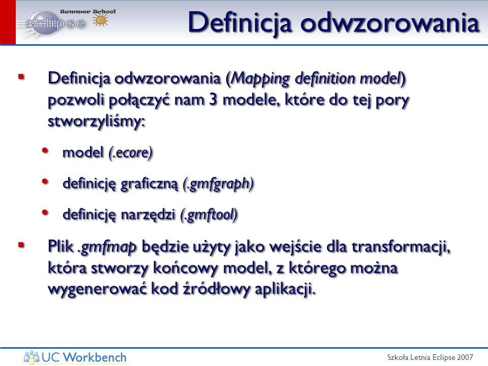 Szkoła Letnia Eclipse 2007 Definicja odwzorowania Definicja odwzorowania (Mapping definition model) pozwoli połączyć nam 3 modele, które do tej pory s