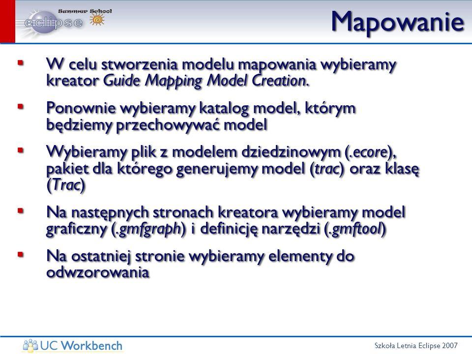 Szkoła Letnia Eclipse 2007 Mapowanie W celu stworzenia modelu mapowania wybieramy kreator Guide Mapping Model Creation. Ponownie wybieramy katalog mod