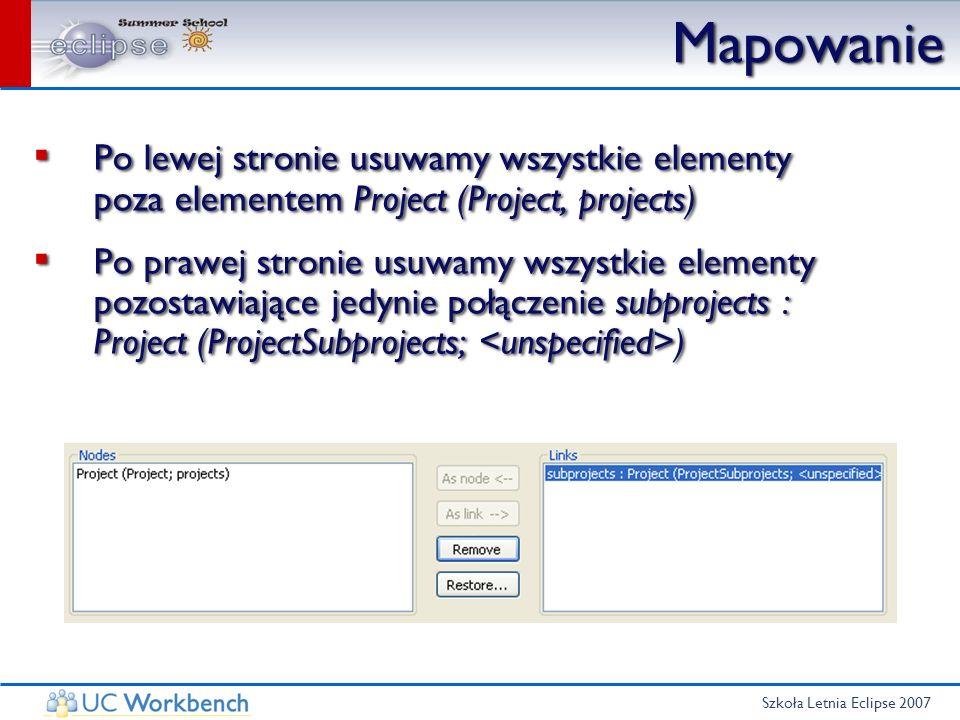 Szkoła Letnia Eclipse 2007 Mapowanie Po lewej stronie usuwamy wszystkie elementy poza elementem Project (Project, projects) Po prawej stronie usuwamy