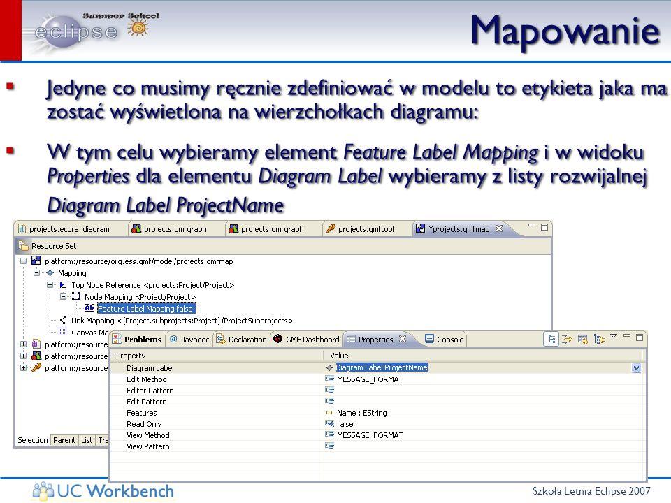 Szkoła Letnia Eclipse 2007 Mapowanie Jedyne co musimy ręcznie zdefiniować w modelu to etykieta jaka ma zostać wyświetlona na wierzchołkach diagramu: W