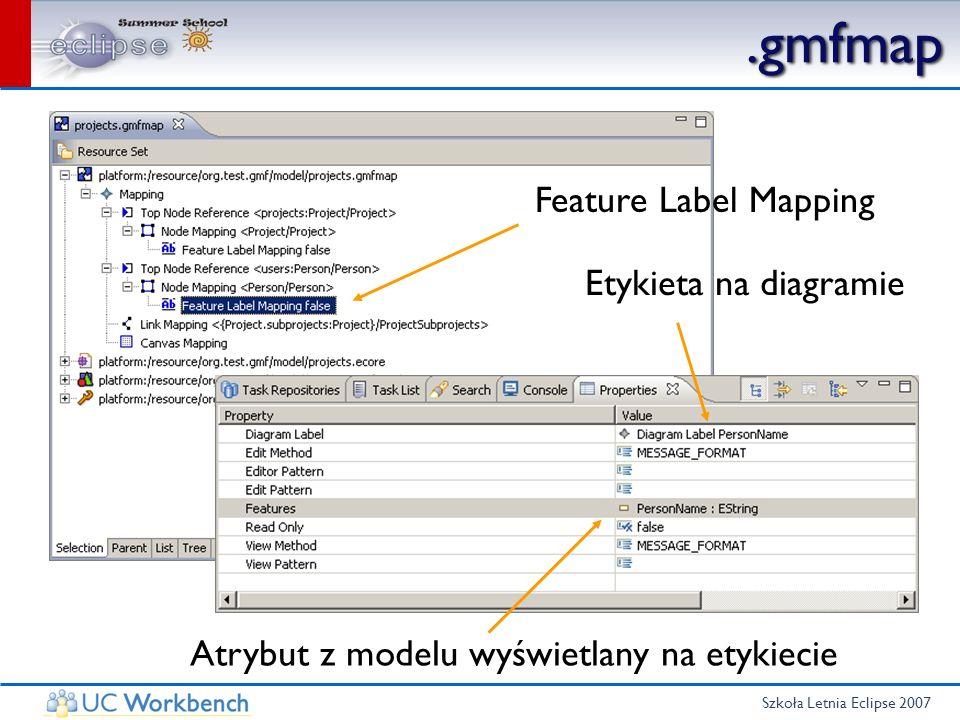 Szkoła Letnia Eclipse 2007.gmfmap Feature Label Mapping Etykieta na diagramie Atrybut z modelu wyświetlany na etykiecie