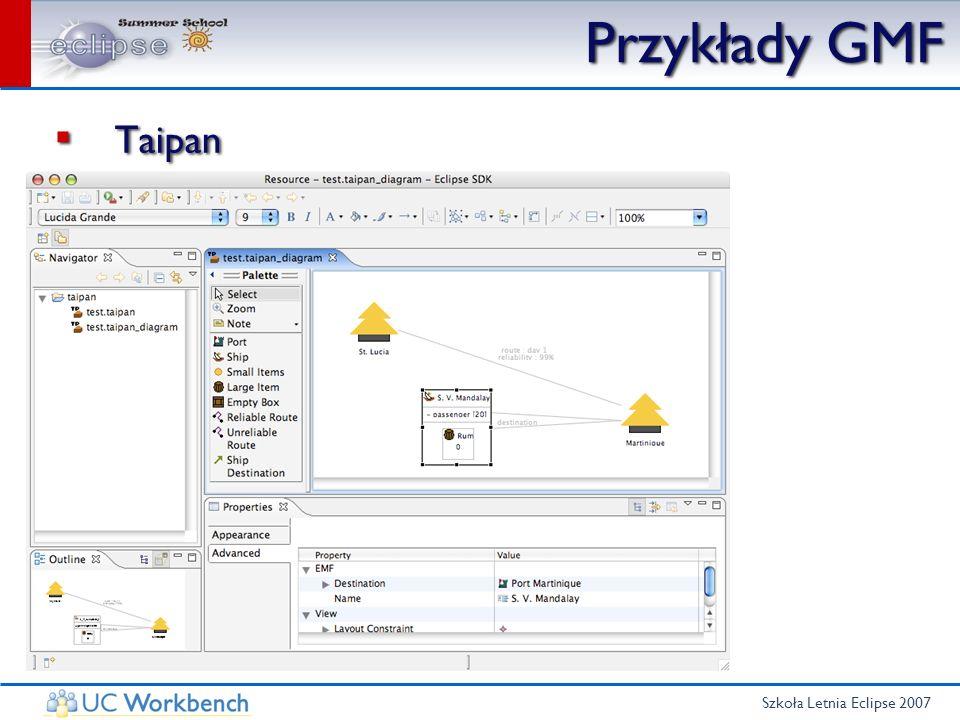 Szkoła Letnia Eclipse 2007 GMF - Podsumowanie Szybki sposób na tworzenie aplikacji Profesjonalnie wyglądający edytor Wbudowane mechanizmy Szybki sposób na tworzenie aplikacji Profesjonalnie wyglądający edytor Wbudowane mechanizmy