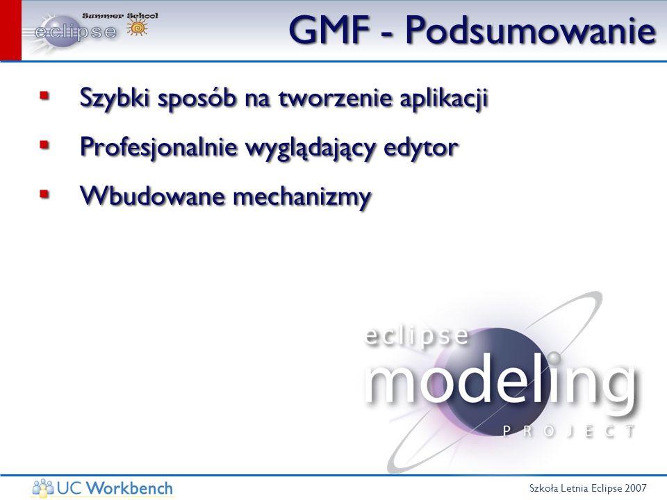 Szkoła Letnia Eclipse 2007 GMF - Podsumowanie Szybki sposób na tworzenie aplikacji Profesjonalnie wyglądający edytor Wbudowane mechanizmy Szybki sposó