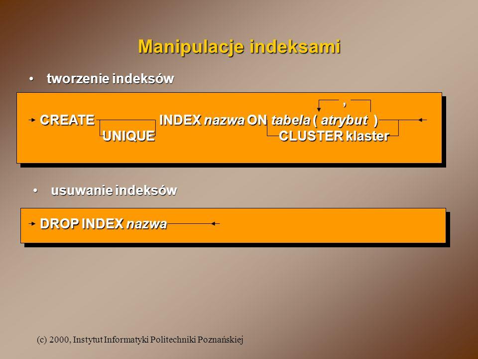 (c) 2000, Instytut Informatyki Politechniki Poznańskiej Manipulacje indeksami tworzenie indeksówtworzenie indeksów usuwanie indeksówusuwanie indeksów