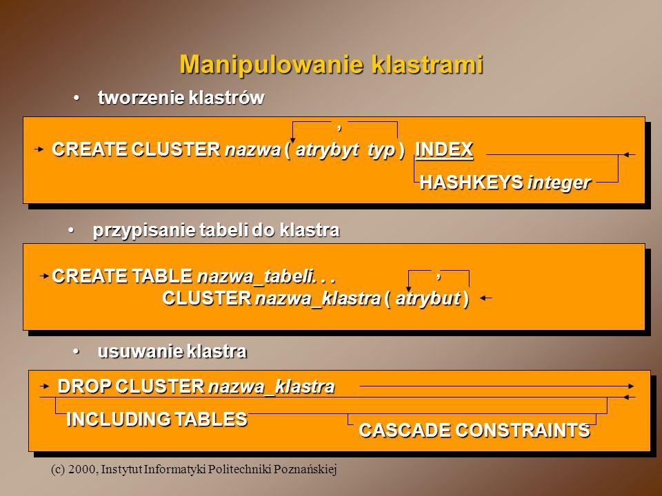 (c) 2000, Instytut Informatyki Politechniki Poznańskiej Manipulowanie klastrami tworzenie klastrówtworzenie klastrów CREATE CLUSTER nazwa ( atrybyt ty