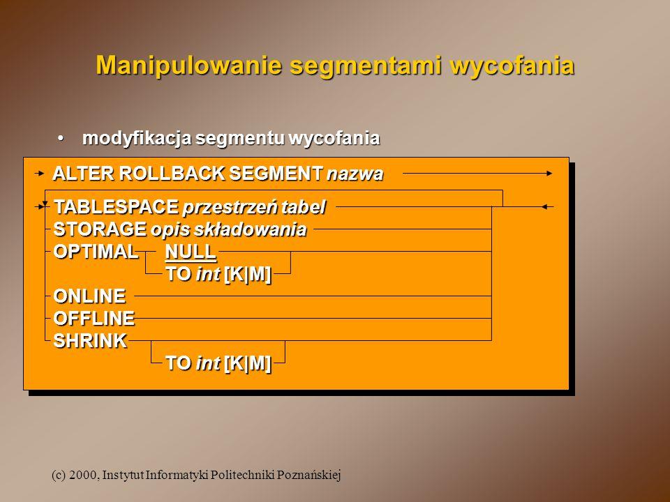 (c) 2000, Instytut Informatyki Politechniki Poznańskiej Manipulowanie segmentami wycofania modyfikacja segmentu wycofaniamodyfikacja segmentu wycofani