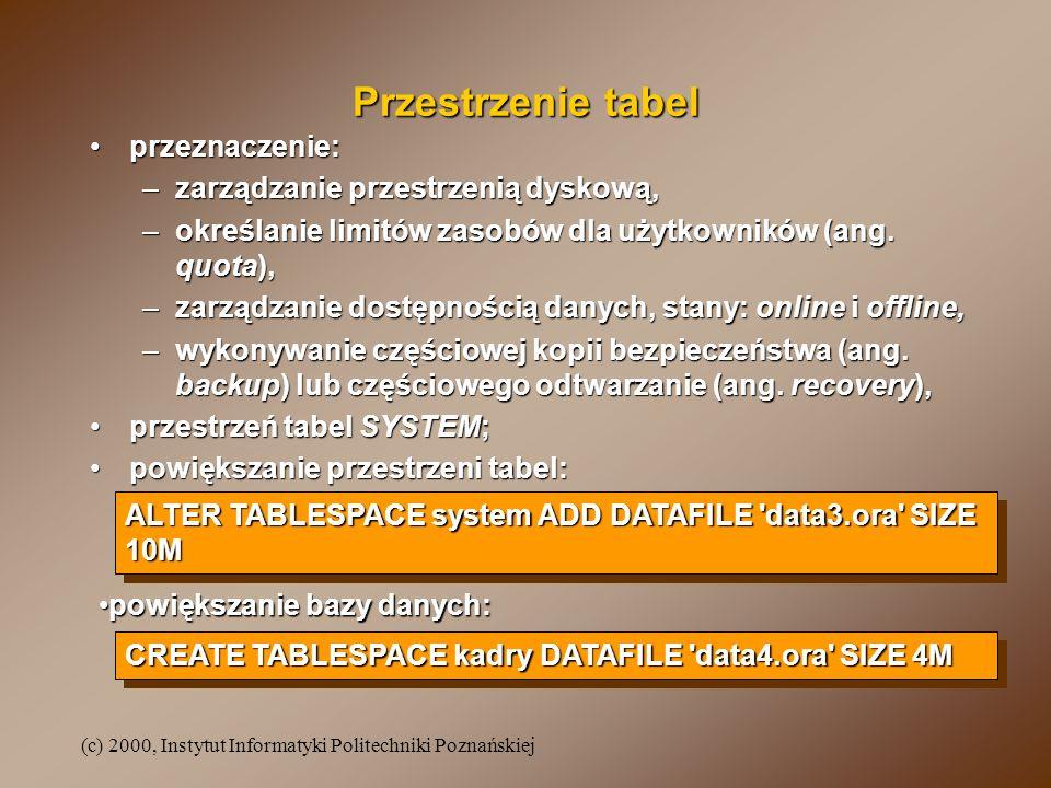 (c) 2000, Instytut Informatyki Politechniki Poznańskiej Przestrzenie tabel przeznaczenie:przeznaczenie: –zarządzanie przestrzenią dyskową, –określanie