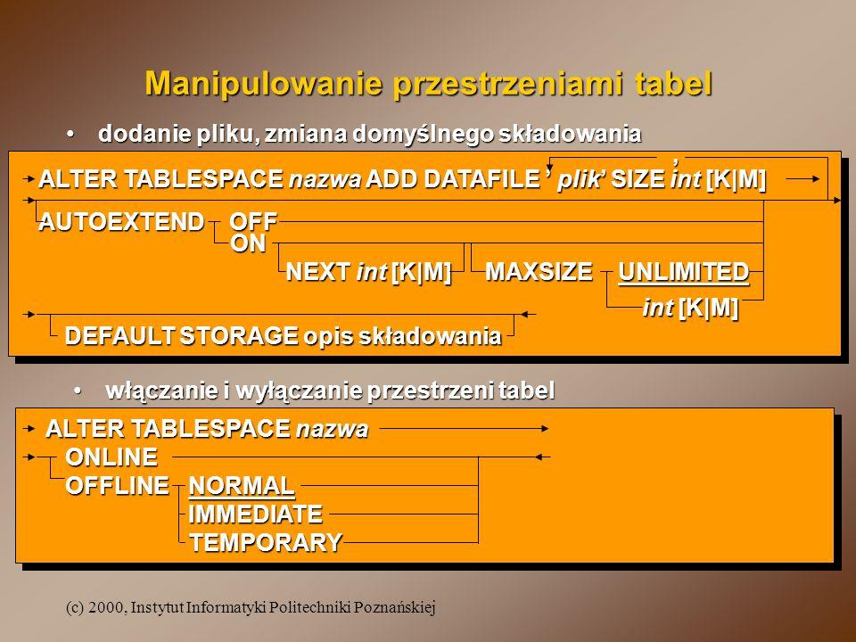 (c) 2000, Instytut Informatyki Politechniki Poznańskiej ALTER TABLESPACE nazwa ADD DATAFILE plik SIZE int [K M] AUTOEXTEND OFF ON ON NEXT int [K M] MA