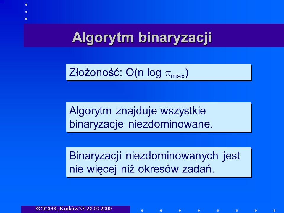 SCR2000, Kraków 25-28.09.2000 Algorytm binaryzacji Złożoność: O(n log max ) Algorytm znajduje wszystkie binaryzacje niezdominowane.