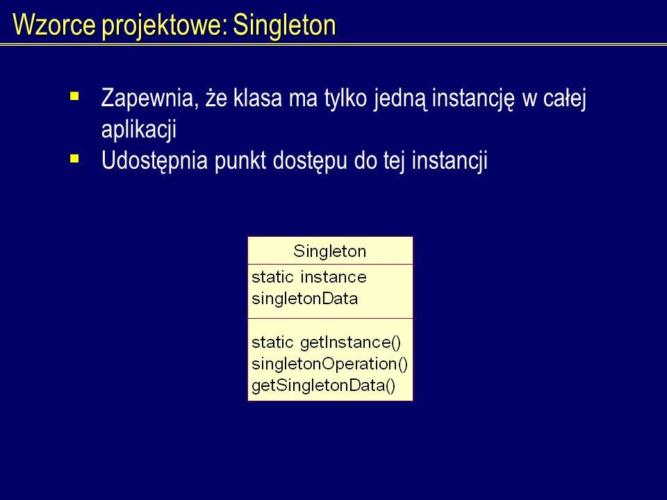 Wzorce projektowe: Singleton Zapewnia, że klasa ma tylko jedną instancję w całej aplikacji Udostępnia punkt dostępu do tej instancji