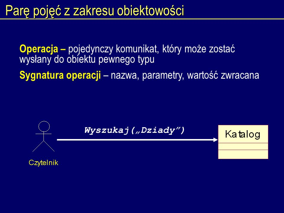 Parę pojęć z zakresu obiektowości Operacja – pojedynczy komunikat, który może zostać wysłany do obiektu pewnego typu Sygnatura operacji – nazwa, param
