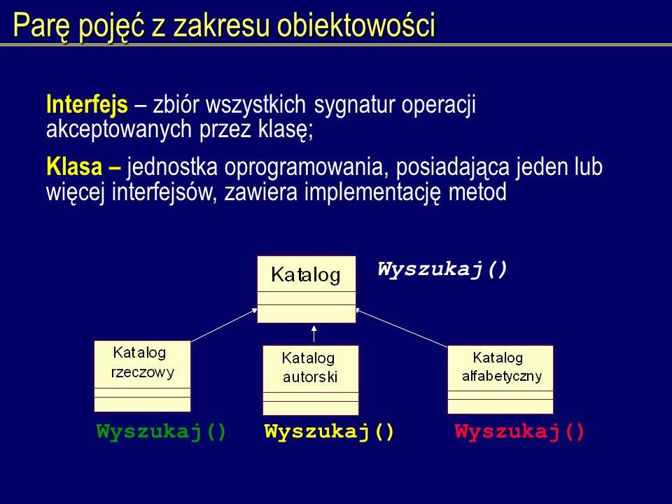Parę pojęć z zakresu obiektowości Interfejs – zbiór wszystkich sygnatur operacji akceptowanych przez klasę; Klasa – jednostka oprogramowania, posiadaj
