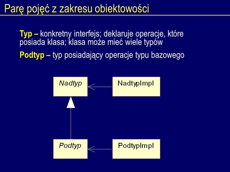 Parę pojęć z zakresu obiektowości Typ – konkretny interfejs; deklaruje operacje, które posiada klasa; klasa może mieć wiele typów Podtyp – typ posiada