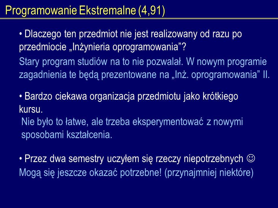 Programowanie Ekstremalne (4,91) Dlaczego ten przedmiot nie jest realizowany od razu po przedmiocie Inżynieria oprogramowania? Stary program studiów n